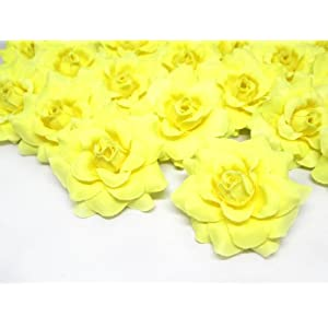 """(24) Silk Light Yellow Roses Flower Head - 1.75"""" - Artificial Flowers Heads Fabric Floral Supplies Wholesale Lot for Wedding Flowers Accessories Make Bridal Hair Clips Headbands Dress 105"""