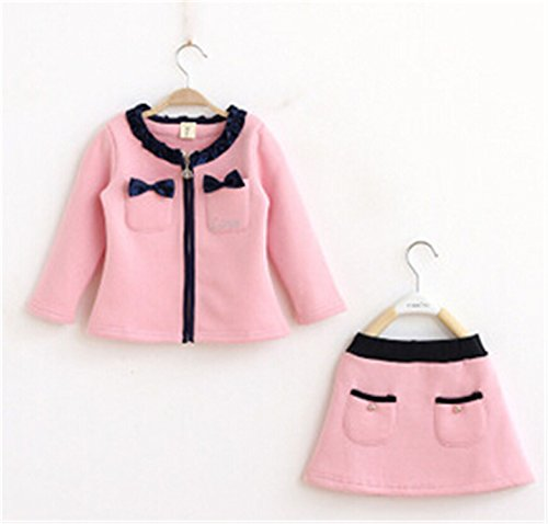 Travfis Children Girls Clothing Sets Autumn Winter Solid Long Sleeve Coat Skirt Set Baby Kids Girls Clothes Clothing Pink (Sainsbury Baby Halloween Outfits)