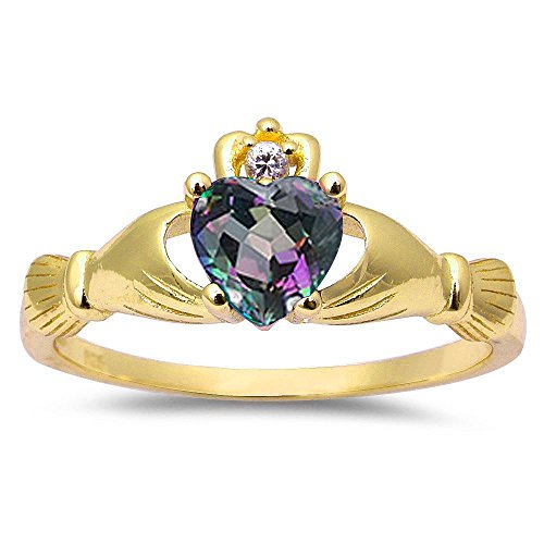 Oxford Diamond Co Yellow Gold Plated Rainbow Cz Calddagh .925 Sterling Silver Ring Size 3