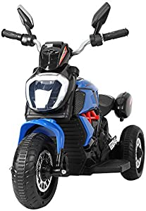 TOBBI Three-Wheeled Motorcycle for Kids 3-6 Years, Kids Ride On Motorcycle with Pedal, Music Story Playing, Colorful LED Lights, MP3 Player, Blue