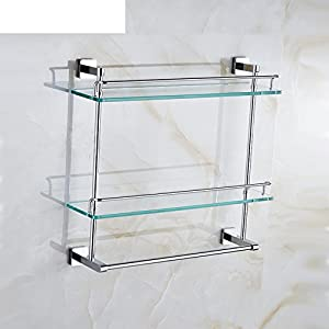 lovely Solid brass Towel rack/shelf /Double shaft mounted racks/Glass makeup/Bathroom hardware