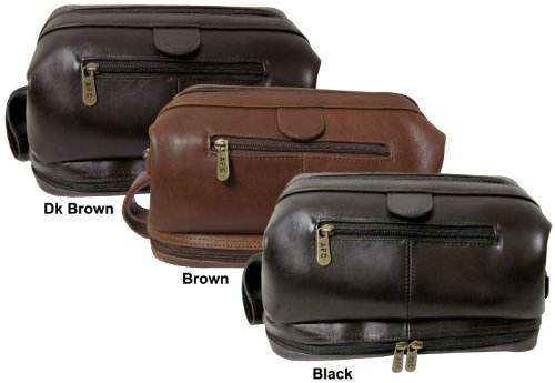 Amerileather Leather Toiletry Bag Brown - 1