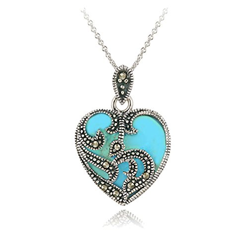 GemStar USA Sterling Silver Synthetic Turquoise & Marcasite Heart Necklace