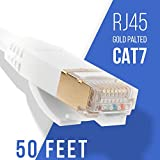 Topscable 50 Feet White CAT7 Shielded Ethernet Patch Flat Cable with Gold-Plated RJ45 Connectors - Speed 1000 MHz/10Gbps - for Router LAN Network, ADSL, IP Cameras, PS4, X-Box - 90 Day Warranty