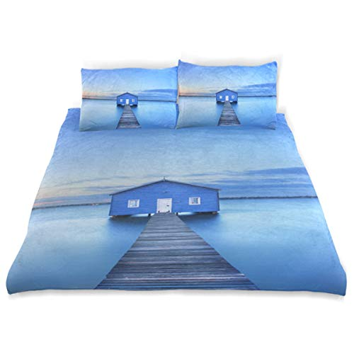 PENGTU Duvet Cover Set Sunrise Over Matilda Bay Boathouse Swan Decorative 3 Piece Bedding Set with 2 Pillow Shams Soft Bedding Set with Zipper Closure
