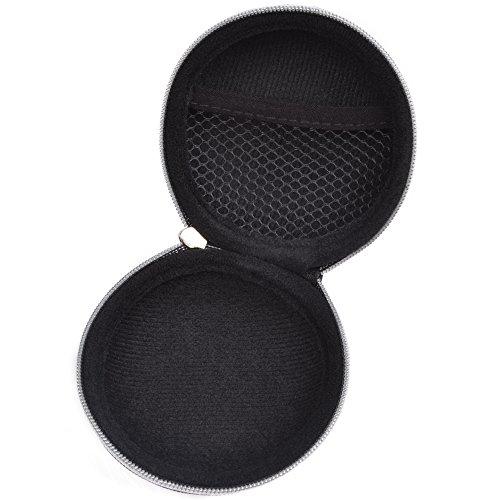 Case Star ® Unique Zebra Pattern Round Shape Earphone Handsfree Headset Kensington Car Audio AUX Cable Hard Case with Zipper Enclosure + Case star cellphone bag