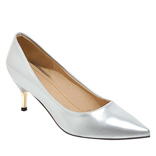 Enfiler Escarpins Pointu MissSaSa Chaussures à Fermeture Bout Office Argent Femmes BPxw6qY