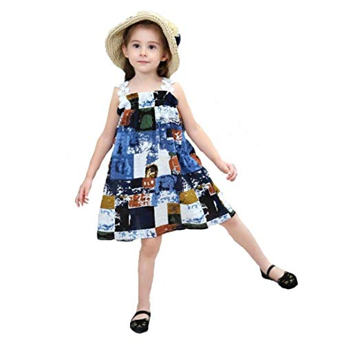 Lace Abstract Printed Casual Princess Strap Vocation(Blue-4T) ()