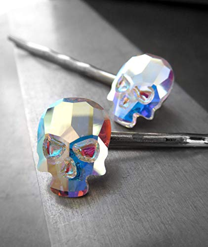 Iridescent Swarovski Crystal Skull Hair Pins in Crystal AB - Set of 2 - Fun Goth Girl Halloween Jewelry by Shy Siren Jewelry