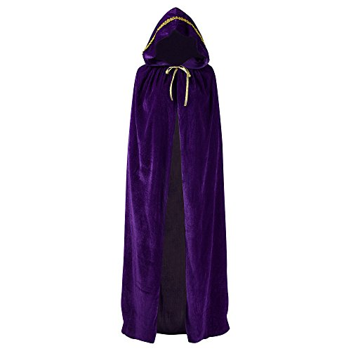 Wizard Cloak Costume (Unisex Full Length Hooded Robe Cloak Long Velvet Cape Cosplay Costume 59