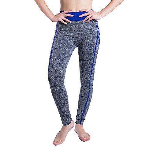 iLUGU Women Gym Yoga Patchwork Sports Running Fitness Leggings Pants Athletic Trouser(S,Blue-24) by iLUGU (Image #6)