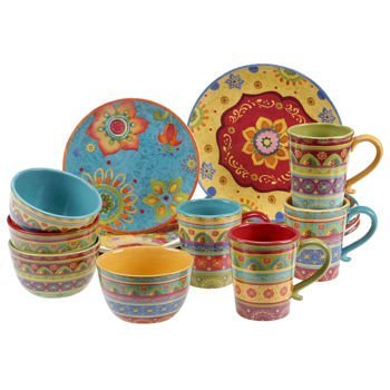 Vibrant, Beautiful, Colorful 100% Ceramic 16-pc Dinnerware Set by Tunisian Sunset ()