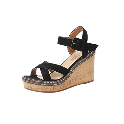 Anxinke Women Summer Shoes Platform High Wedge Sandals with Buckle (7 B(M) US, Black)