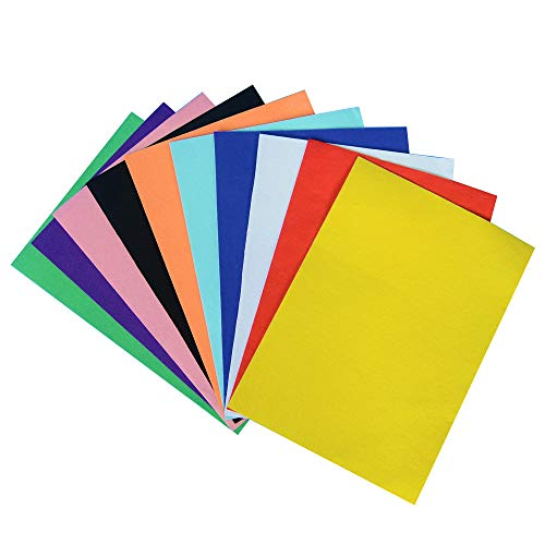 Onepine 10 pcs 10 Colors 8.3x11.8 inch (21x30 cm) Adhesive Back Felt Fabric Sticky Back Sheets Self-Adhesive, Durable and Water Resistant for DIY Art Craft Making,Homemade -