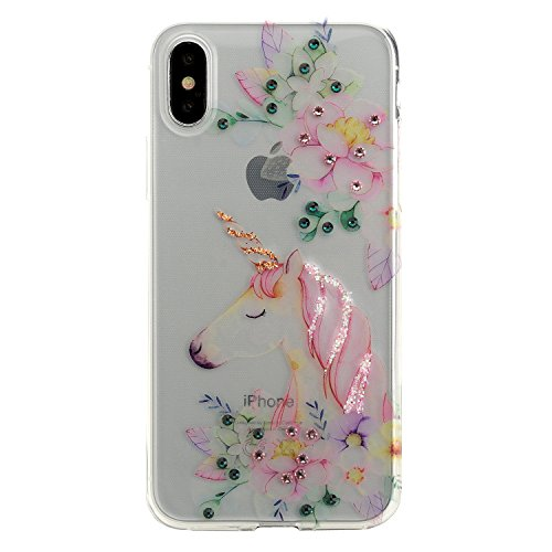 iPhone X Hülle, Impressly Luxus Case Handyhülle Hardcase mit Strass Strasssteinen - Unicorn Dream