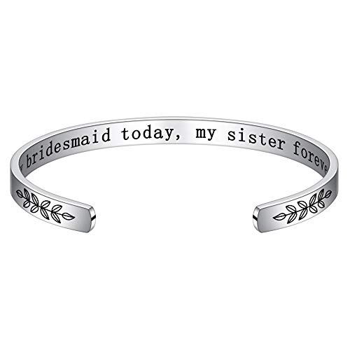 M MOOHAM Wedding Gifts for Sister Bridesmaids - My Bridesmaid Today My Sister Forever Bracelet Engagement Wedding Gifts for Bridesmaids Sisters on Wedding Day