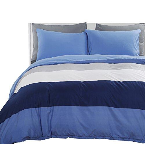 Vaulia Lightweight Microfiber Duvet Cover Set, Bold Stripes Pattern, Reversible Color Design, Blue/White - Queen Size (Duvet Cover Queen White Stripe)