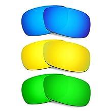 Hkuco Mens Replacement Lenses For Oakley Crosshair 2.0 Blue/24K Gold/Emerald Green Sunglasses