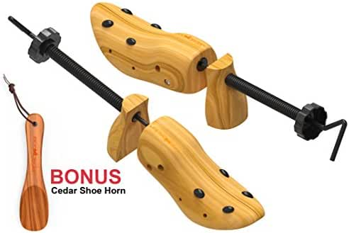 Premium Professional Shoe Stretcher Pair By ECO-CEDAR- 2-Way Adjustable Shoe Trees From Quality Solid Wood Bonus Cedar Shoe Horn Ideal For Men & Women (LARGE)- 8 Plugs Included For Bunions & Corns