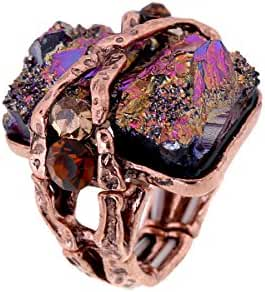 Cubic Gem Resin Stone with Crystal Elastic Stacking Rings Antique Gold and Silver Tone