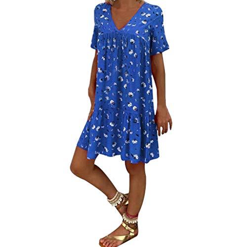 Mikilon Women's Summer Wrap V Neck Bohemian Floral Print Ruffle Swing A Line Beach Mini Dress Blue