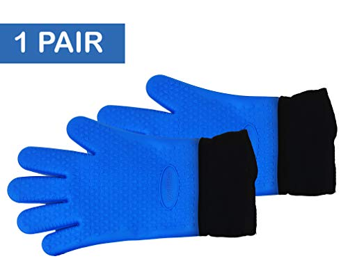 - Silicone Gloves / Long Safety Length silicone oven mitts / Double-layer Heat Resistant Kitchen Gloves / BBQ Gloves, Grilling gloves, Cooking gloves, Baking gloves - Non-Slip, Potholder, Oven Mi (Blue)
