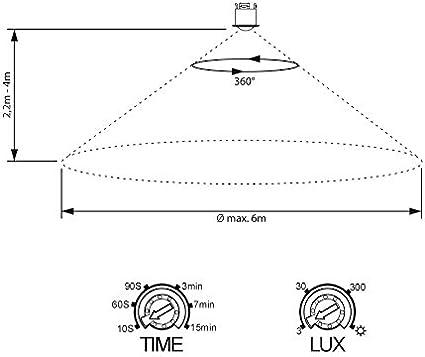 Sensor de Infrarrojos Interior LED Adecuado Alcance 6m // 360/° programable SEBSON 2X Detector de Movimiento Empotrable Montaje en Techo