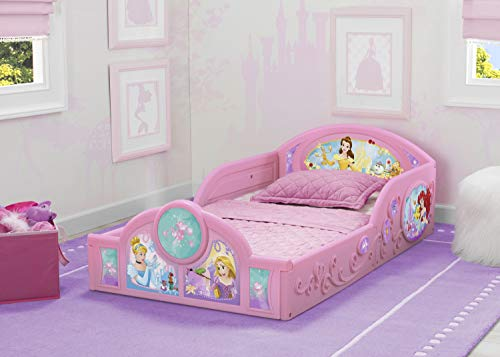 Delta Children Princess Sleep and Play Toddler Bed with Attached Guardrails | Features Colorful Graphics of Cinderella, Belle, Ariel and Rapunzel