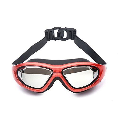 A-Fort Lunettes de Natation, lunettes de Natation polarisées avec miroir/lentille de fumée Protection UV étanche à l'eau sangle réglable Anti-buée ajustement Confortable Pour Unisexe Hommes et Femme