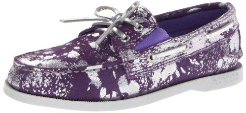 Sperry Top-Sider A/O Slip-On Boat Shoe (Toddler/Little Kid/Big Kid),Purple/Silver,12 M US Little Kid