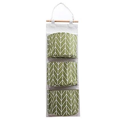 SMARTrich - Organizador para colgar encima de la puerta, varios bolsillos de lino con múltiples