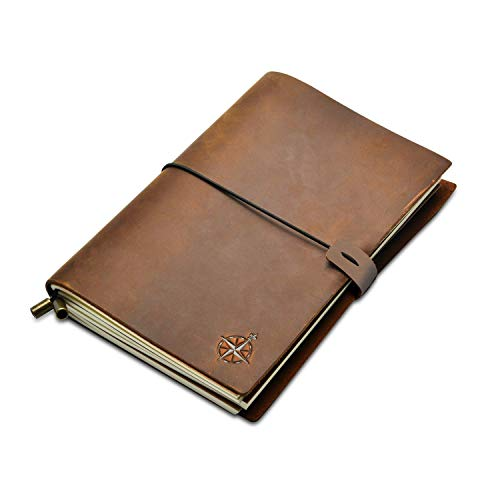 A5 Leather Notebook – Wanderings A5 Refillable Travel Journal, Hand-Crafted Genuine Leather – Perfect for Writing, Poets…