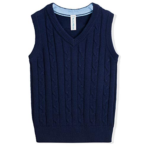 Benito & Benita Boys Uniform Vest V-Neck Cable School Sweater Vest Christmas Vest for Boys/Girls 3-12Y Navy