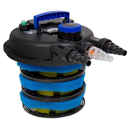 Best Choice Products 4000L Pressure Bio Filter for Pond w/ 13W UV Sterilizer Purifier Light, Flow Indicator - Black/Blue