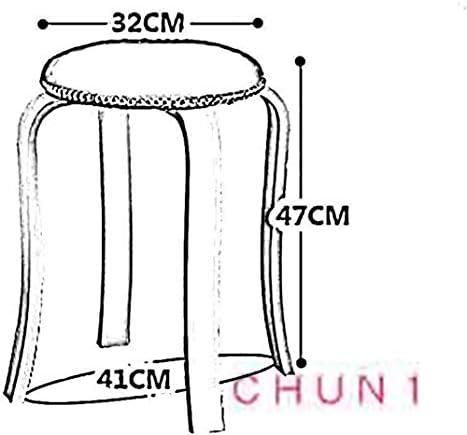 Tabouret en bois, ronde Accueil des adultes Table Tabouret PU Fini épais Tapis à manger Chaise 32X 32 X 47cm 130 1028 (Size : Yellow)