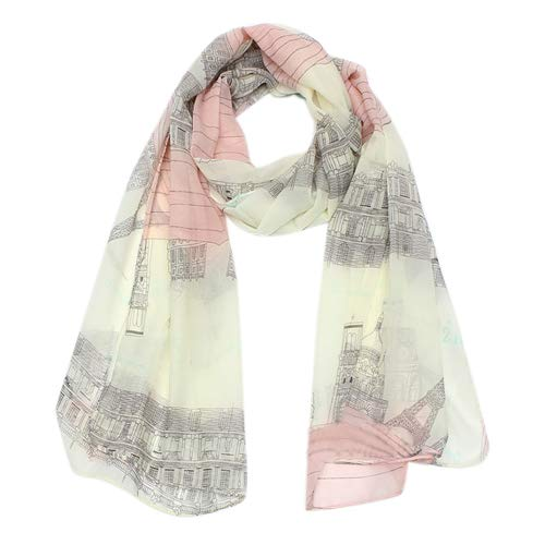 Aland Women\'s Casual Voile Sheer Soft Long Scarf Eiffel Tower Printed Shawl Stole