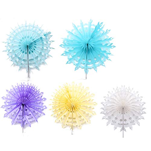 (JETEHO 5 PCS Large Tissue Paper Snowflake Decoration Kit for Parties Wedding Birthday (White, Purple, Royal Blue, Light Blue, Tiffany Blue))