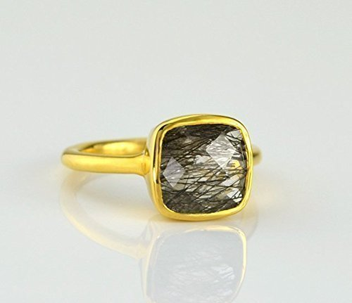 Black Rutilated Quartz ring, stackable ring, Vermeil Gold or silver, bezel set ring, cushion ring, black gemstone ring, Birthstone ring, square (Black Vermeil Ring)