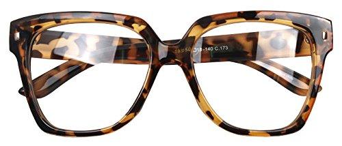 Retro Nerd Geek Oversized Eye Glasses Horn Rim Framed Clear Lens Spectacles (Glossy Leopard - Womens Framed