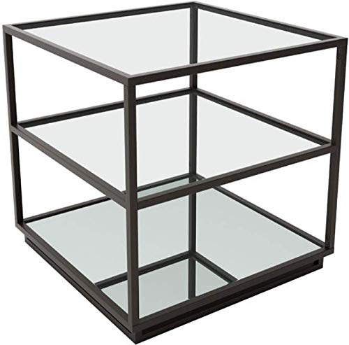 Zuo Modern 100754 Kure End Table, Distressed Black, Modern Mix of Clean Lines, Clear Two Glass Shelves, Mirrored Bottom Shelf, 150 lbs Weight Capacity, Dimensions 21.7