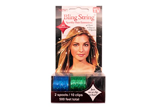 Mia Bling String Sparkly Hair Tinsel/Extensions On A Spool-500 Feet/300+ Applications-1 Spool With Hologram Teal Blue And 1 Spool With Hologram Lime Green Color (10 clips - Macy Where Is