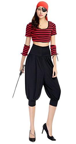 Smile YKK Femme Cosplay Uniforme de Pirate Hip-hop Halloween Déguisement Costume