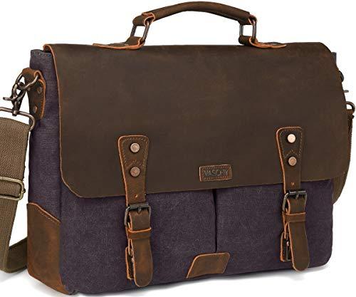 Messenger Bag for Men, Vaschy Vintage Leather Canvas Satchel 15.6inch Laptop Business Briefcase Crossbody Shoulder Bag with Detachable Strap - Strap With Satchel Small