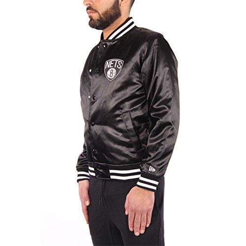 NBA Tip Jacke Era Bomber Off Sateen Nets Black Brooklyn New College Jacket 6wUZgxq46