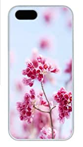 Apple iPhone 5S Case and Cover - Pink flowers Hard Plastic Case for iPhone 5/5S - White