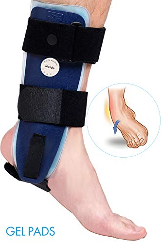 Velpeau Ankle Brace - Stirrup Ankle Splint - Adjustable Rigid Stabilizer for Sprains, Strains, Post-Op Cast Support and Injury Protection (Gel Pads, Large - Left Foot)