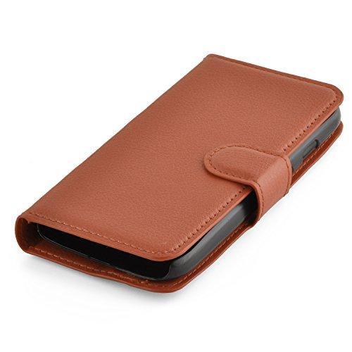 Cadorabo - Funda Motorola MOTO G-DVX (XT1032) Book Style de Cuero Sintético en Diseño Libro - Etui Case Cover Carcasa Caja Protección (con función de suporte y tarjetero) en MARRÓN-CHOCOLATE