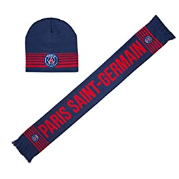 PARIS SAINT GERMAIN Coffret Echarpe + Bonnet PSG - collection officielle Taille unique Adulte et grand ado
