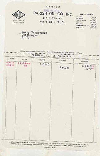 1936 Parish New York Oil Company Invoice Statement Sun Oil