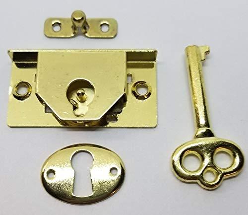 M-1880 - BRASS PLTD STEEL HALF MORTISE CHEST LOCK 1-3/4